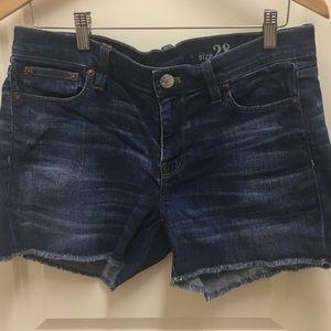 J crew indigo cut off denim shorts
